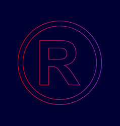 Registered trademark sign line icon with vector