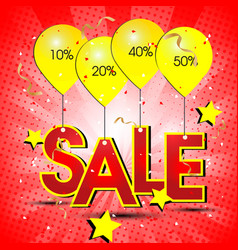 Sale ballon red background image vector