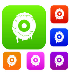 scary eyeball set color collection vector image vector image