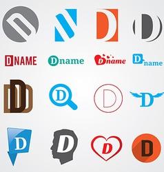 Set of alphabet symbols of letter D vector image vector image