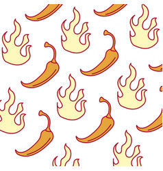 spicy chile vegetable with flames pattern vector image