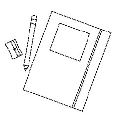 text book school with pencil and sharpeneer vector image