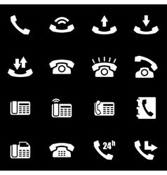 white telephone icon set vector image