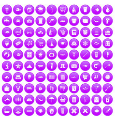 100 fish icons set purple vector