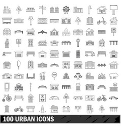 100 urban icons set outline style vector