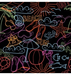 Seamless pattern with beach doodles vector