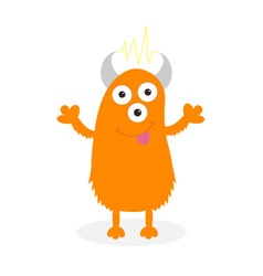Orange monster with eyes horns tongue electricity vector