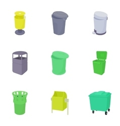 Waste rubbish icons set cartoon style vector