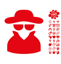 Spy icon with valentine bonus vector