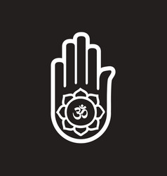 Stylish black and white icon indian om sign on vector