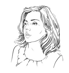 monochrome hand-drawn image amazed young woman vector image