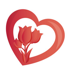 heart with roses love card isolated icon vector image
