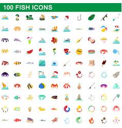 100 fish icons set cartoon style vector