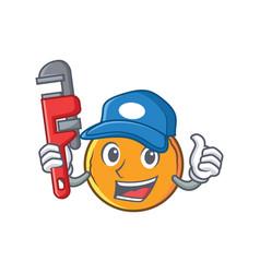 Plumber orange fruit cartoon character vector
