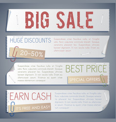 Advertising sale horizontal banners vector