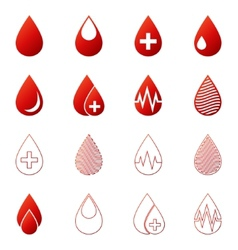 Blood drop icons set vector