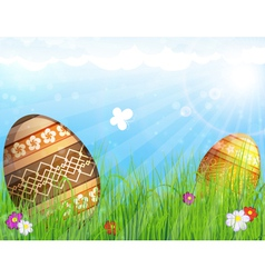 Eggs on meadow with flowers vector