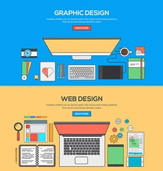 Flat design line concept 4 vector image