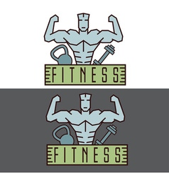 Bodybuilder fitness model line craft emblem vector