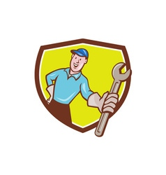Mechanic presenting monkey wrench shield cartoon vector