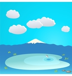 Mountain and lake at the background of cloudy sky vector