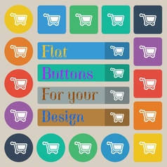 Shopping cart icon sign set of twenty colored flat vector