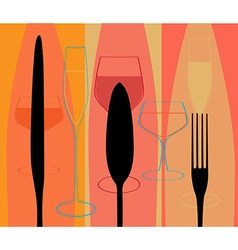 Menu with cutlery and glasses vector