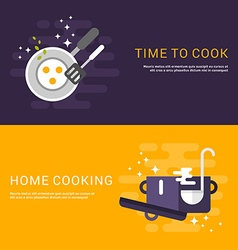 Flat design concept for web banners cooking time vector