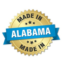 Made in alabama gold badge with blue ribbon vector