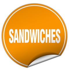 Sandwiches round orange sticker isolated on white vector