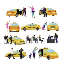 Set of taxi service icons isolated on white vector