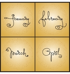 Set handwritten calligraphy words january vector