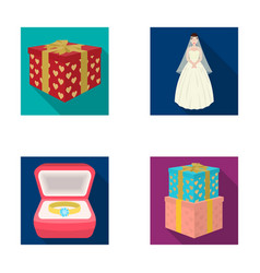 a box with a gift for a wedding a bride in a veil vector image