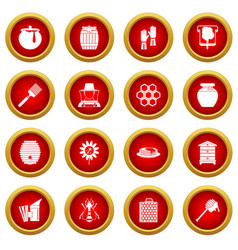 Apiary tools icon red circle set vector