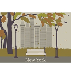 Autumn park new york vector