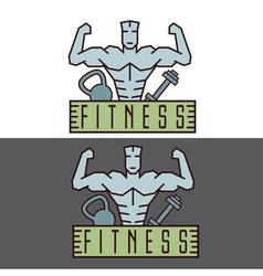 Bodybuilder fitness model line craft emblem vector