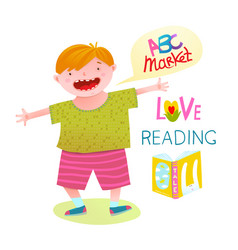 boy love reading happy cartoon vector image