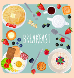 Breakfast table with food isolated on vector