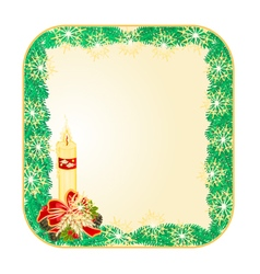 Button square Christmas Spruce with candle vector image