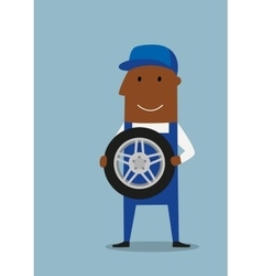 Car mechanic in blue uniform with wheel vector image vector image