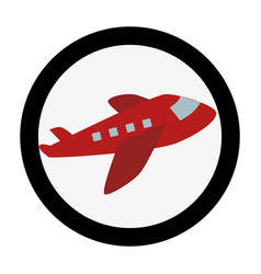 Circular emblem with cargo airplane vector