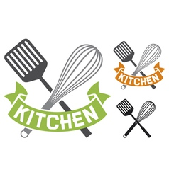 crossed spatula and balloon whisk - kitchen symbol vector image vector image