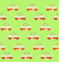 Cute colorful tram pattern streetcar and tranway vector