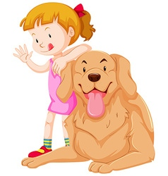 Cute girl and pet dog vector image