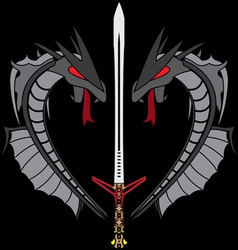 Grey dragons and sword vector