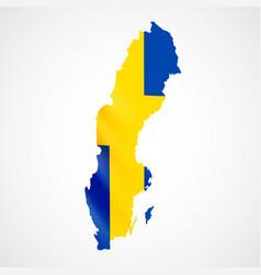 Hanging sweden flag in form of map kingdom of vector
