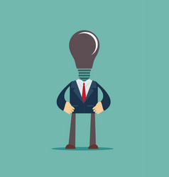 Lamp head businessman have not got an idea vector