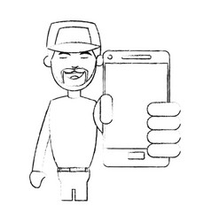 Man with baseball hat using phone icon imag vector