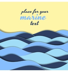 Marine themed background of blue waves vector image vector image