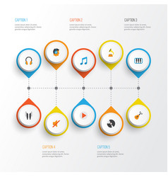 Music flat icons set collection of earpiece ear vector